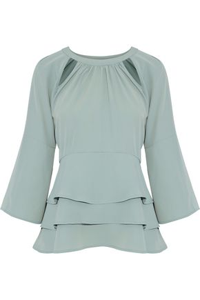 W118 by WALTER BAKER Cutout tiered crepe de chine blouse