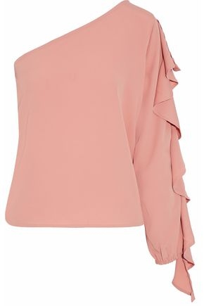 W118 by WALTER BAKER One-shoulder ruffled crepe de chine blouse