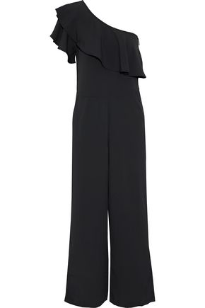 W118 by WALTER BAKER One-shoulder ruffled crepe de chine wide-leg jumpsuit