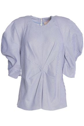 ROKSANDA Striped gathered cotton-poplin blouse