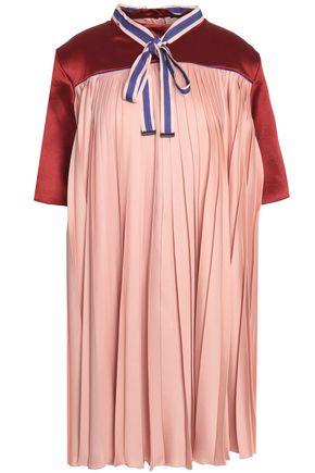 ROKSANDA Paneled satin pleated mini dress