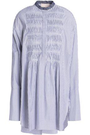 ROKSANDA Chambray-trimmed pintucked striped cotton-poplin mini dress