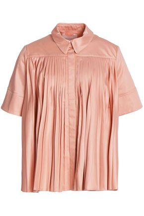 ROKSANDA Pleated cotton-sateen top