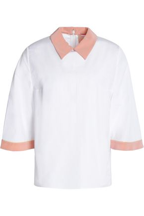 ROKSANDA Two-tone cotton and silk-blend poplin shirt