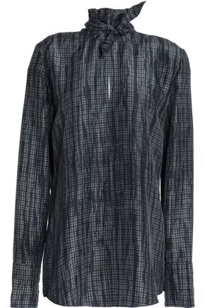 NINA RICCI Tie-neck houndstooth silk blouse