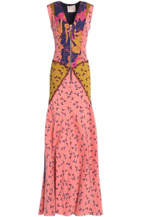 ROKSANDA Paneled printed silk-georgette gown