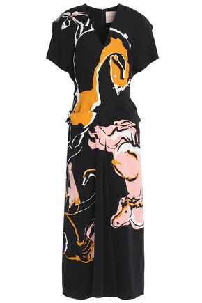 ROKSANDA Layered and paneled printed silk-crepe midi dress