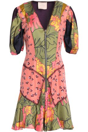 ROKSANDA Floral-print paneled silk-satin mini dress