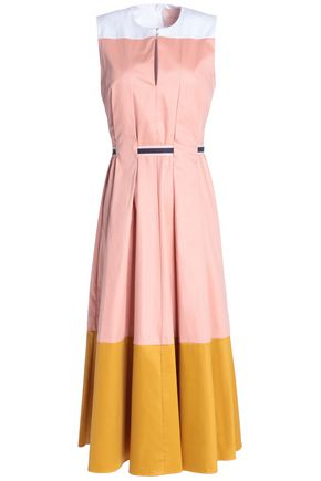 ROKSANDA Color-block pleated cotton-blend poplin midi dress