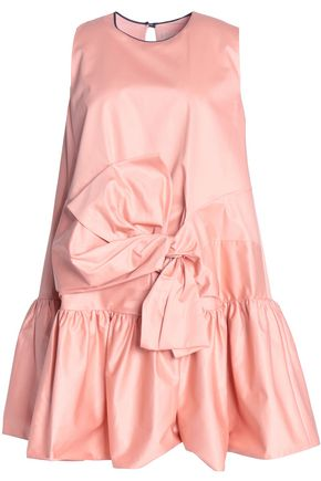 ROKSANDA Bow-detailed ruffled cotton-taffeta mini dress