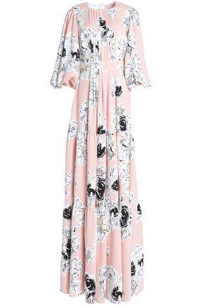 ROKSANDA Pintucked floral-print silk-georgette gown
