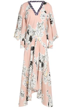 ROKSANDA Stripe-paneled floral-print cutout silk midi dress