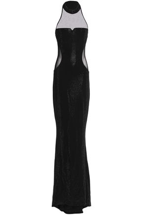 BALMAIN Crystal-embellished mesh-paneled stretch-jersey gown