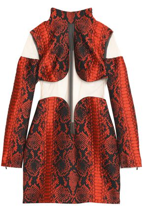 BALMAIN Tulle-paneled snake-print jacquard mini dress