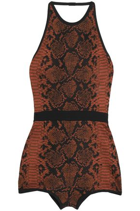 BALMAIN Snake-print stretch-knit bodysuit