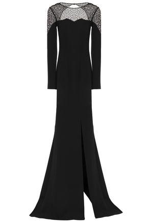 SAFIYAA Mesh-paneled crepe gown
