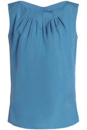 NINA RICCI Ruffle-trimmed pleated cotton-poplin top