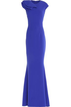 SAFIYAA Ruffled fluted crepe gown