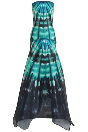 SAFIYAA Strapless printed silk-georgette gown