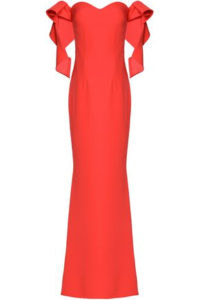 SAFIYAA Off-the-shoulder fluted crepe gown