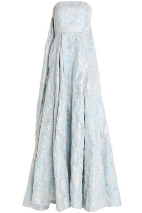 SAFIYAA Strapless metallic layered cloqué gown