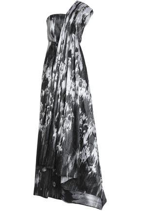 SAFIYAA One-shoulder paneled printed taffeta gown