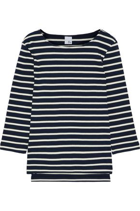 IRIS & INK Madeline striped ribbed-knit cotton-jersey top