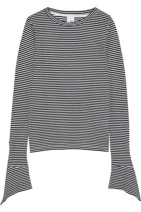 IRIS & INK Courtney draped striped jersey top