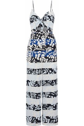 MARA HOFFMAN Cutout tie-front printed twill wide-leg jumpsuit