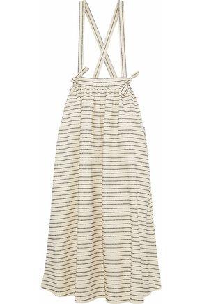 MARA HOFFMAN Striped basketweave cotton-blend midi skirt
