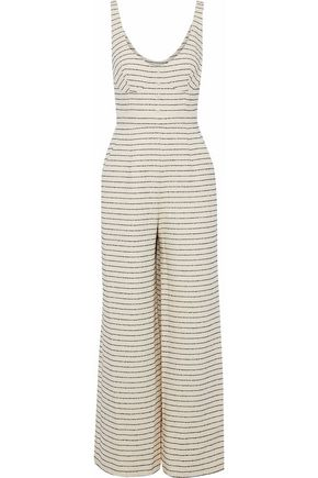 MARA HOFFMAN Striped cotton-blend basketweave jumpsuit
