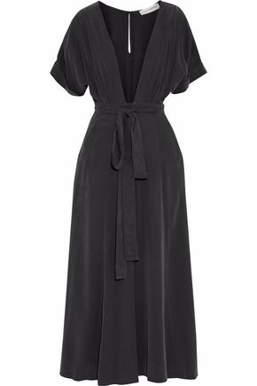 MARA HOFFMAN Cropped belted washed-modal jumpsuit