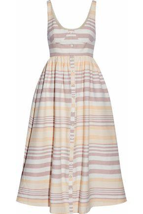 MARA HOFFMAN Gathered striped cotton midi dress