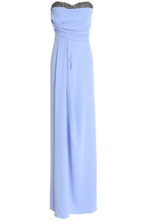 MARCHESA NOTTE Strapless embellished crepe gown