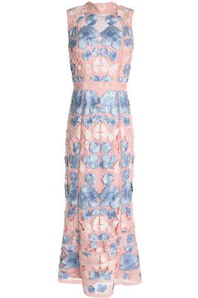 MARCHESA NOTTE Guipure lace midi dress