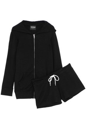 MONROW Slub-jersey hooded sweatshirt and shorts set