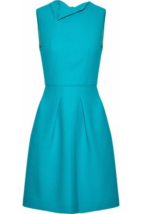 ROLAND MOURET Draped pleated wool-crepe dress
