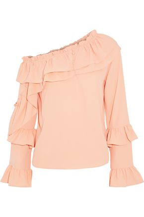 W118 by WALTER BAKER Off-the-shoulder ruffled crepe de chine blouse
