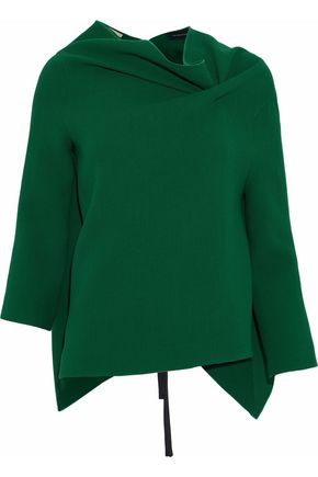 ROLAND MOURET Oscar draped wool-crepe top