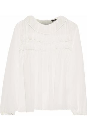 W118 by WALTER BAKER Roland ruffle-trimmed pintucked chiffon blouse