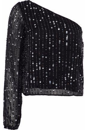 W118 by WALTER BAKER Alexa one-shoulder embellished chiffon top