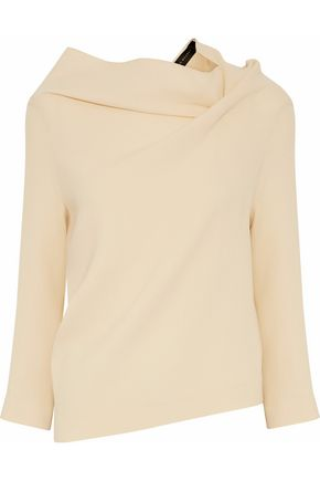 ROLAND MOURET Gathered wool-crepe top