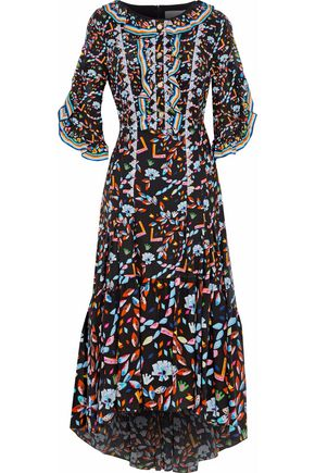 PETER PILOTTO Lace and ruffle-trimmed printed silk maxi dress