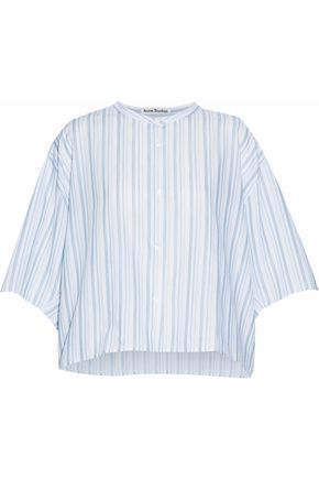ACNE STUDIOS Cropped striped cotton-poplin shirt