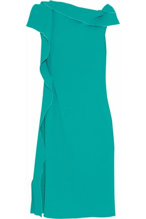 ROLAND MOURET Gathered wool-crepe dress