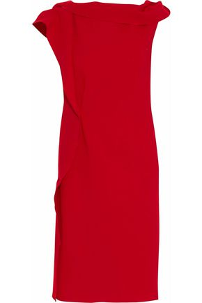 ROLAND MOURET Gathered ruffled wool-crepe dress