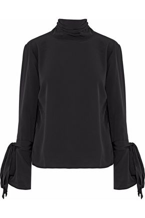 W118 by WALTER BAKER Bow-detailed crepe de chine blouse