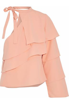 W118 by WALTER BAKER Ruffled one-shoulder crepe top
