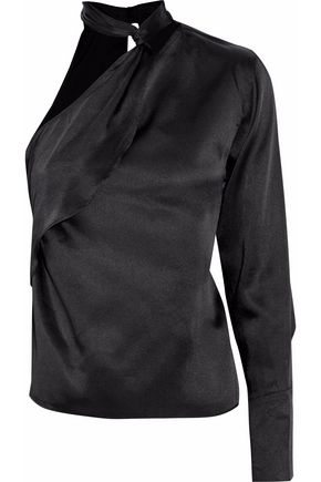 W118 by WALTER BAKER One-shoulder ruffled satin blouse