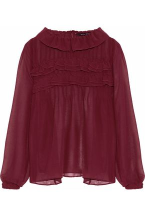 W118 by WALTER BAKER Pintucked ruffled chiffon blouse